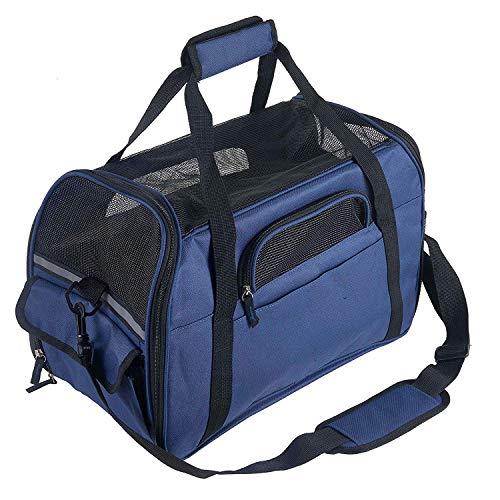 Petcomer Trasportino Morbido per Cane Borsa Tracolla Confortevole Viaggio per Cani Gatti in Treno Aereo (L 48 x 25 x 33 cm, Blu Reale)