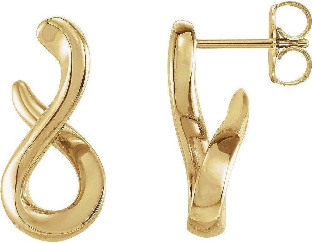 Infinity-Inspired Drop Earrings (16mm x 7.9mm)