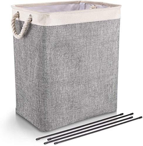 Wasmand met handvatten Opvouwbare Linnen Wasserij Manden voor wasgoed met beugel en Bottom Board Standing kleding opberger voor kleding Organisatie Storage,White