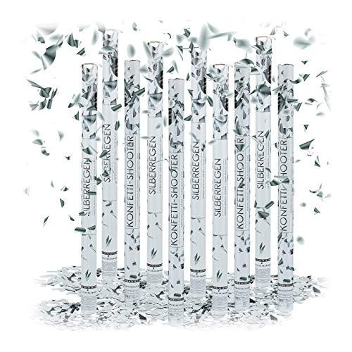 Relaxdays 10 x Party Popper 80 cm im Konfettikanonen Set, Konfetti Bombe für Hochzeit und Geburtstag, Konfetti Shooter 6-8 m Effekthöhe, Silber metallic