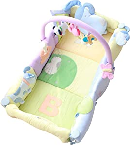 Crib Functional Portable Bed Foldable Game Bed Game Pad Crawling Pad Sleeping Pad Anti-pressure Cot Travel Cots  Color Yellow  Size 90x40x20cm