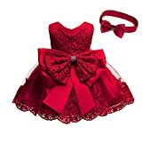 Birthday Party Dresses for Baby Girls Red Size 1 Dresses for Toddlers Sleeveless Party Wedding Dresses for Girl Formal Tutu Lace Dress Knee Length Party Dresses for Little Toddler Girls (Red 18M)
