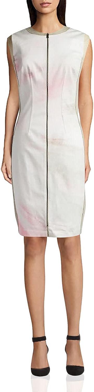 T Tahari Avani White Printed Sleeveless Front Zip Stretch Dress