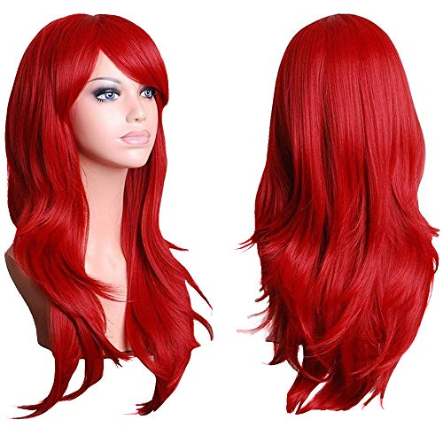 TopWigy Cosplay Wig for Women 28 Inch Red Long Curly Wigs Wavy Hair Wig Synthetic Hair Colored Ariel Custome Party Cosplay Wig (Red 28')