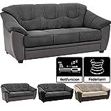 Cavadore 3-Sitzer Sofa Savana / 3er Sofa mit Federkern im klassischen Design / inkl. Bettfunktion / 198 x 90 x 90 / Materialmix Grau/Grau