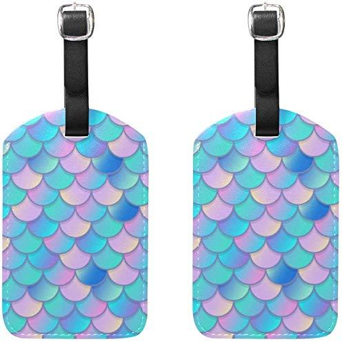 Meerjungfrau skaliert Muster Gepäckanhänger 2Pcs Portable Addr Namensschilder Inhaber Identifier Label Checked Card Reisetasche Koffer