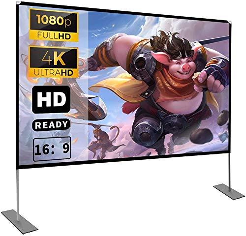 Projektion Leinwand mit Stand 100 Zoll HD 4K Outdoor Indoor Projector Screen Schnelles Falten Tragbare Filmleinwand 16: 9 Full-Set-Tasche für Heimkino, Camping und Freizeitveranstaltungen
