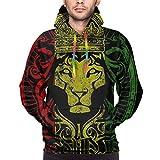 ZQHRS Bandera Africana El León de Judá Rasta Rastafari Sudaderas con Capucha de la Novedad de los Hombres Sudadera Estampada Bolsillos Pullover Talla XL