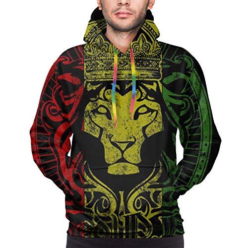 ZQHRS Bandera Africana El León de Judá Rasta Rastafari Sudaderas con Capucha de Hombre Novedad Sudadera Estampada Bolsillos Jersey