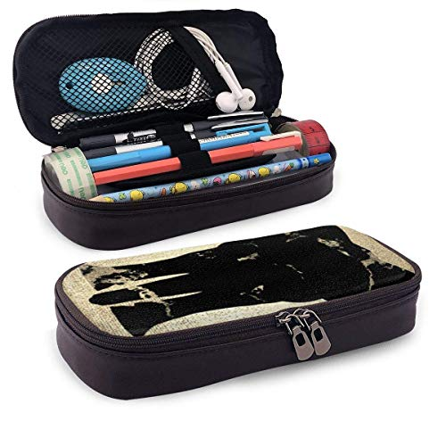 Elephant Black Marble Champaigne Faux Gold Portable Leather Pencil Case Pencil Bag Pouch with Zipper