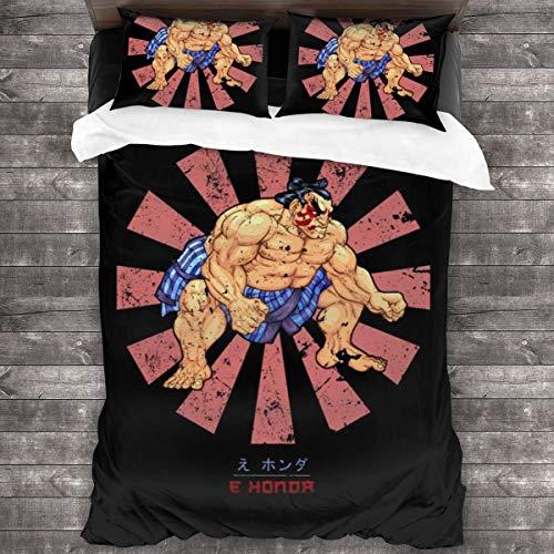 KUKHKU E Ho-nda Retro Japanese Street Fighter 3-teiliges Bettwäsche-Set Bettbezug 218 cm x 70 cm, Queen dekoratives 3-teiliges Bettwäsche-Set mit 2 Kissenbezügen