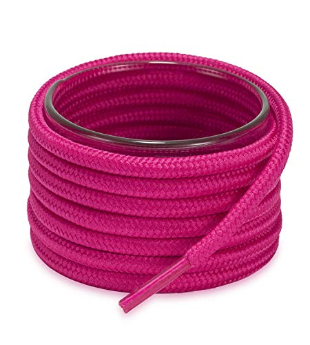 """Shoemate Solid Color Round Shoe Laces for Sneakers, Boots and Athletic Shoes with 4 Shoelace Tip Algets, Hot Pink, 60""""(152cm) 15-MeiHong"""