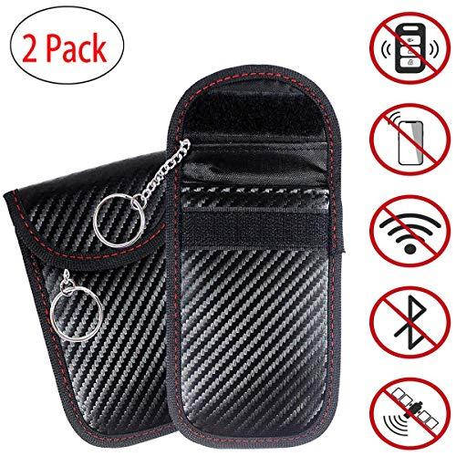 Lot de 2 pochettes de blocage de signal pour clé de voiture avec chaîne + 2 pochettes RFID, étui de blocage du signal pour clé de...