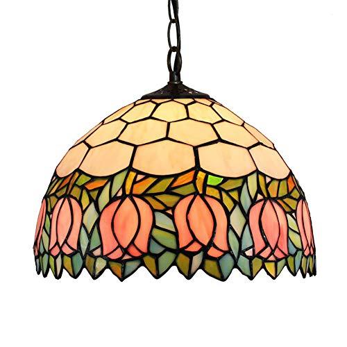 Jay Pink Tulip Tiffany Lámparas Colgantes Lámpara de Techo de Lujo de Estilo Victoriano Lámparas de con Pantallas de Resina Sala de Estar Comedor Dormitorio Tocador de Noche Decoración Iluminación