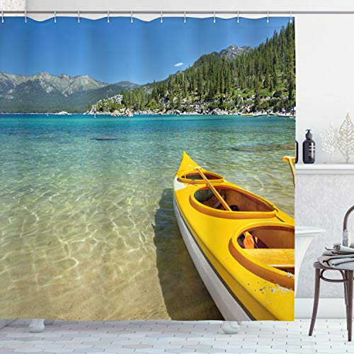 Ambesonne Lake Tahoe Shower Curtain, Extreme Sports in Wild Lakeside Places Scenic Activities, Cloth Fabric Bathroom Decor Set with Hooks, 75' Long, Turquoise Sky Blue Lime Green