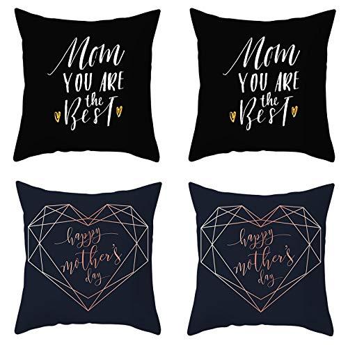 AtHomeShop - Set di 4 federe da 50 x 50 cm, in poliestere con cuore Happy Festa della mamma, morbido e confortevole, quadrato, per divano, terrazzo, decorazione – bianco e nero