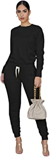 LOIBASO Women's 2 Piece Tracksuit Outfits Casual Sports Long Sleeve Pullover Sweatsuits and Tights(Black,S)