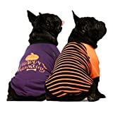 Fitwarm 2-Pack Halloween Dog Shirt for Pet Clothes 100% Cotton Puppy T-Shirts Cat Tee Breathable Stretchy Costumes XL