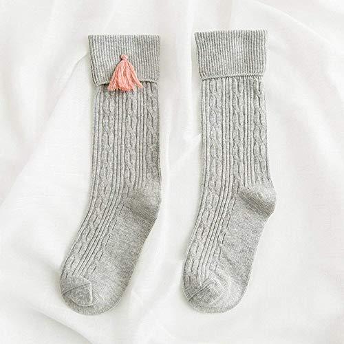 Aohua Praktische Vogue Kinderen Lange Buis Sokken Katoen Lange knie Sokken Kwastje Winter Warm Hosiery Kinderen Kousen in fijne stijl