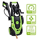 PowRyte Elite Electric Pressure Washer, Electric Power Cold Water Washer with 5 Interchangeable Spray Tips, Hose Reel: 4000PSI 3.0 GPM (Green)