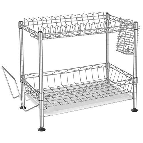 SONGMICS Abtropfgestell für Geschirr, Geschirrabtropfer mit 2 Ebenen, mit Besteckhalter, Schneidebretthalter, Abtropfschale, bis zu 40 kg belastbar, silbern LGR030S01