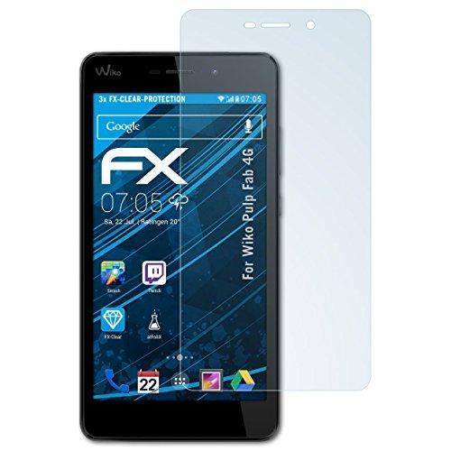 atFolix Schutzfolie kompatibel mit Wiko Pulp Fab 4G Folie, ultraklare FX Bildschirmschutzfolie (3X)