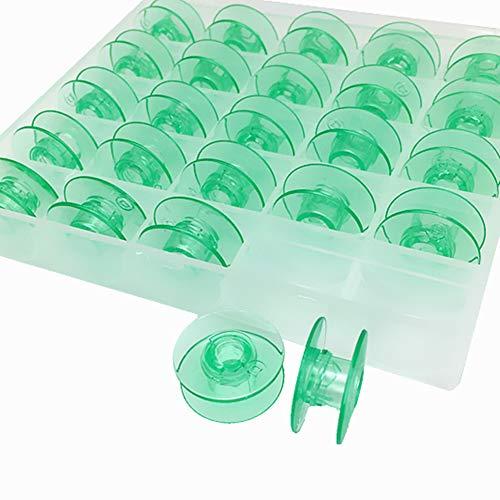 YEQIN 4123078-G Clear Green Plastic Bobbins Will FIT, Husqvarna Viking ect Sewing Machines (25pcs/Box)