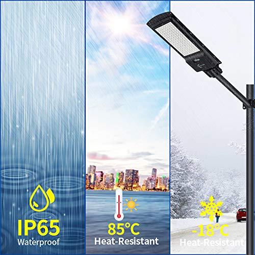 CILU SUM 150W LED Solar Street Light,12000LM 6500K Solar Powered Pole Light, IP65 Waterproof Security Area Night Lighting for Street Gutter Patio Garden Path,Basketball Court,barn