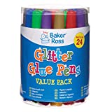 Baker Ross Pennarelli con colla glitterata (confezione da 24) per lavoretti creativi e creazioni fai da te per bambini