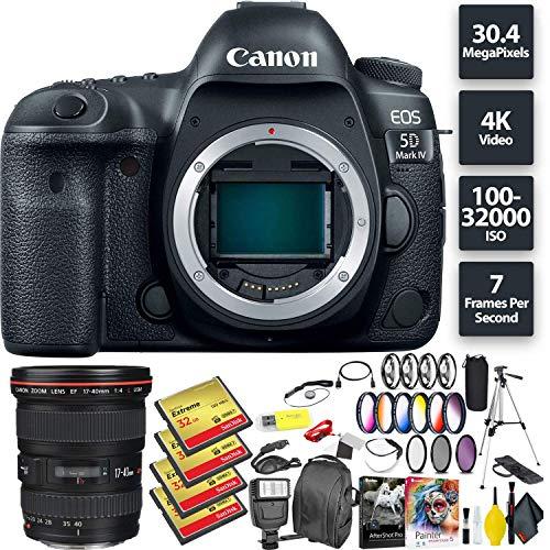 Fantastic Deal! Canon EOS 5D Mark IV DSLR Camera (Body) + 128GB Memory Card (4X 32) + Canon 17-40mm ...