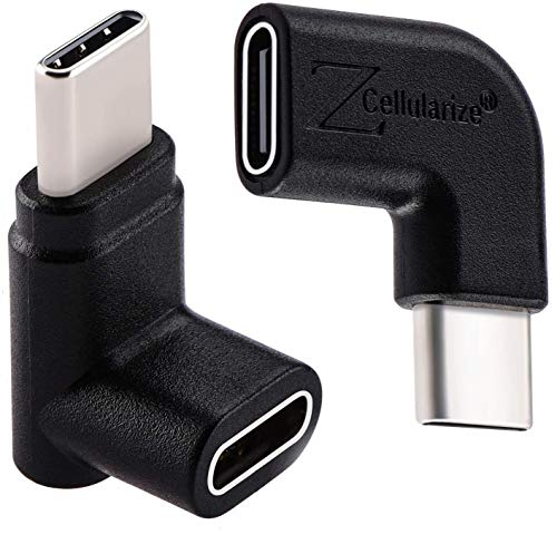 Right Angle USB C Adapter, Cellularize (2 Pack) 3.1/10Gbps Type C Male to Female Extender 90 Degree Left, Up & Down Extension for MacBook, Nintendo Switch, Samsung Galaxy, Note, Dex, Flir One Pro