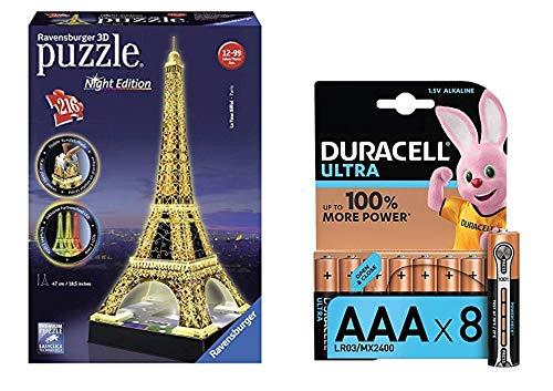 Lot Ravensburger - 12579 - Puzzle 3D Building - 216 Pièces - Tour Eiffel De Nuit + Duracell Ultra Power Piles Alcalines Type AAA, 8 Piles