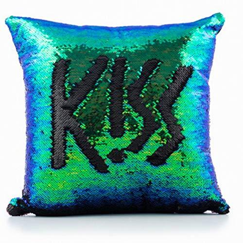 Eurowebb Kissen mit Pailletten, Abnehmbarer Bezug, Originelle Dekoration, Grün