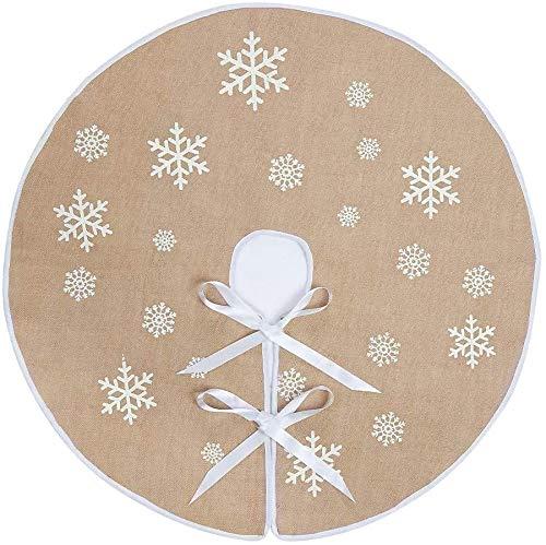 N&T NIETING Weihnachtsbaum Rock Weiße Schneeflocke Gedruckt Sackleinen Weihnachtsbaumteppich Ornamente Dekoration für Weihnachten (48 Inches)