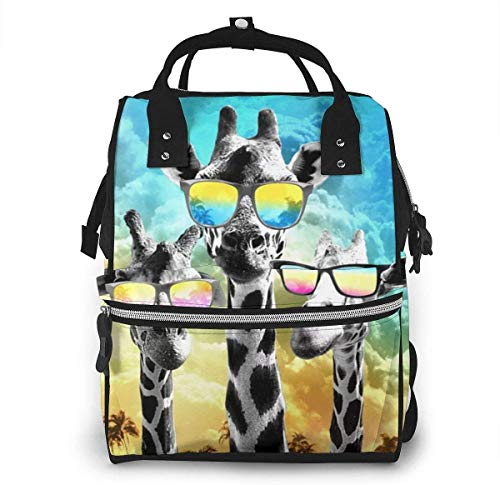 Crazy Cool Giraffe Diaper Backpack Large Capacity Baby Bags Multi-Function Zipper Casual Travel Backpacks for Mom Dad Unisex