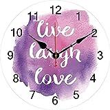 Tbqevc Laughing Live Love Orologio da Parete Viola Blu Numeri Dipinti ad Acquerello 12 Pollici