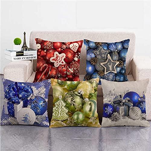 Lyotreiocvniszx Funda de almohada de lino y algodón de 45 cm x 45 cm