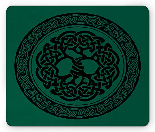 Ambesonne Celtic Mouse Pad, Monochrome Tree of Life Illustration Timeless European Motif, Rectangle Non-Slip Rubber Mousepad, Standard Size, Forest Green