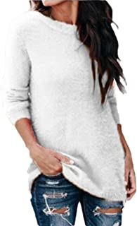Women Crew Neck Knit Pullover Fuzzy Sweater Jumper Top