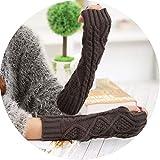 Small-shop-gloves L89 L89 - Guanti Invernali da Donna a Mezza Dita, in Lana Lavorata a Maglia, Senza Dita, Lunghezza 30 cm, Donna, Grigio Scuro, Taglia Unica