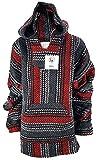 Yankee Forge X-Large Baja Shirt - Black & Dark RED Stripe - Woven Hoodie - Soft Brushed Inside - Unisex Pullover
