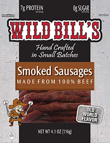 Wild Bill's Smoked Sausages 4.1 Ounce Pack – Made with All US-Beef (3 count)