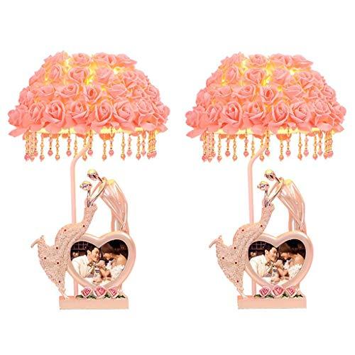 Lámparas de mesita de noche Lámpara de mesa Lámpara de pantalla rosa Lámpara de escritorio Sala de estar Lámparas de dormitorio Lámparas de lectura y marco de fotos Regalo de boda romántico (juego d