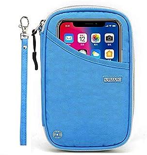 DEFWAY Passport Holder Travel Wallet - Waterproof RFID Blocking Credit Card Organizer Travel Document Bag Ticket Wallet with Strap for Men Women (Blue)