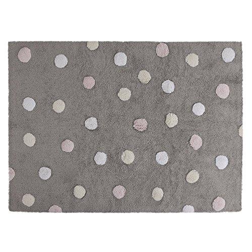 Lorena Canals Topos Tricolour - Alfombra lavable (gris/rosa)