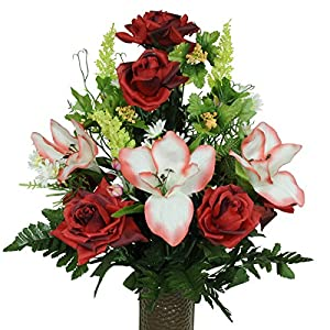 Artificial Cemetery Flowers for Outdoor-Grave-Decorations – Red Open Roses with Amaryllis Fake-Flowers, Non-Bleed Colors, with Stay-In-The-Vase Design
