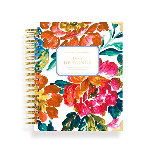 """Day Designer 2021 Daily Life Planner and Agenda, Hardcover, Twin-Wire Binding, 9"""" x 9.75"""", Vintage Floral"""