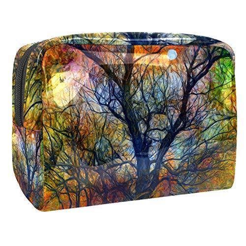 Bolsa de maquillaje portátil con cremallera bolsa de aseo de viaje para las mujeres práctico almacenamiento cosmético bolsa Luna espeluznante otoño noche