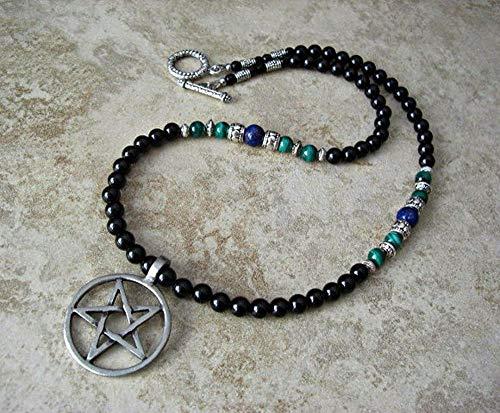 DUEJJH Co.,ltd Collar Pentagrama invertido Pentagrama Colgante Collar para Hombre Collar de Cuentas de ónix Negro
