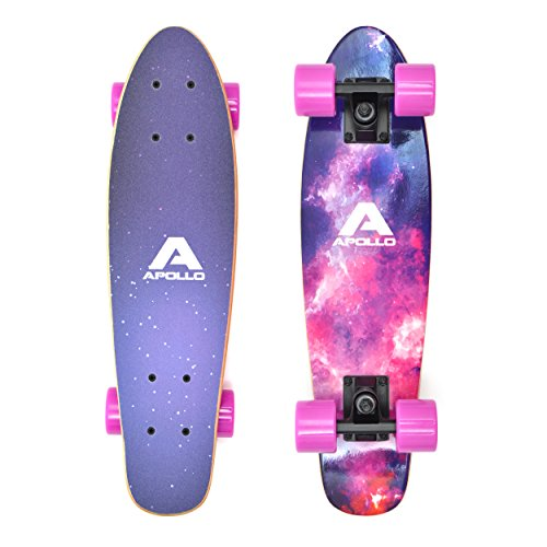 Apollo Fancy Board, Vintage Mini Cruiser, Komplettboard, 22.5inch (57,15 cm), Mini-Board mit Holz oder Kunststoff Deck